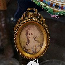 19th Century French gilded bronze oval picture frame