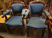 Pr Victorian cedar carver chairs with upholstered backs