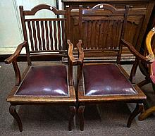 Pr oak & leather carver chairs