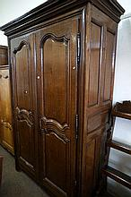 Large French 19th Century carved oak 2 door armoire