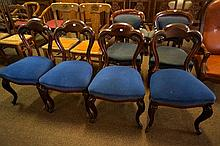 Set of 4 Victorian mahogany cabriole leg dining chairs
