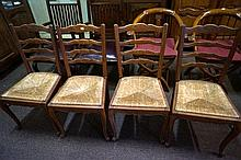 Set of 4 French rush seated kitchen chairs