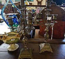 Pr Brass French candelabra