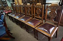 Set of 6 Edw carved oak high back leather chairs
