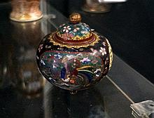 Antique Japanese cloissonne lidded vase