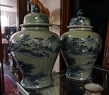 Pr large Chinese lidded vases