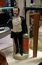 Victorian Staffordshire figure of Gent in evening gear