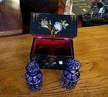 Victorian papier mache MOP & h/painted box containing pr overliad blue glas