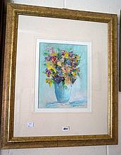 Oil painting, still life vase of flowers by S.Tandori