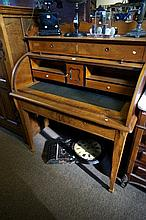 19th Century French walnut cylinder top desk