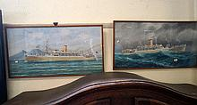 Pr mid 20th Century watercolours of RMS Orcades