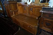 French oak lift top hall bench