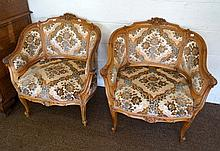 Pr antique French carved walnut arm chairs