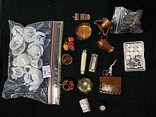2 bags of 19th Century & later miniature items inc compass, mouth organ & d