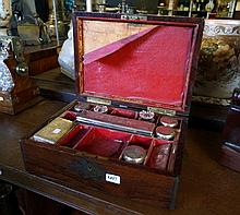 Victorian rosewood & brass mounted vanity box