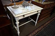 19th Century French painted marble top side table with drawer