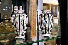 Pr h/painted floral vases