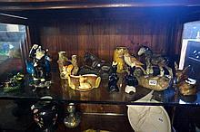 Shelf of assorted ceramic animals