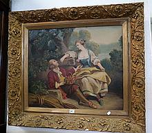 19th Century French oil on canvas of couple in gilded frame
