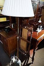 Victorian folding cane seated campaign chair & brass standard lamp