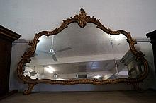 19th Century French carved wooden gilded mirror, glass a/f