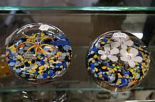 Pr hand blown glass paperweights