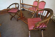 Pr Chinese inlaid armchairs