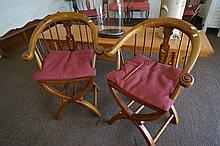 Pr Chinese inlaid elm armchairs
