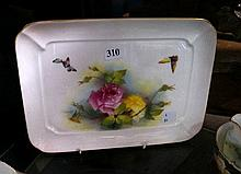 R/Worcester h/painted roses tray signed M Blake