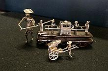 Chinese silver sedan chair & figures on stand, rickshaw & chinese figure wi
