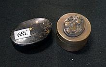 Bronze & papier mache snuff boxes