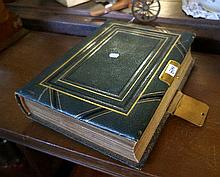Victorian leather & brass bound photograph album in mint condition with ove