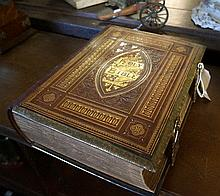 Victorian red leather & brass mounted Family Bible