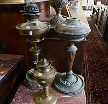 2 Victorian brass kero lamps & lamp base
