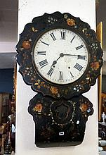 Victorian papier mached h/painted & MOP inlaid regulator wall clock