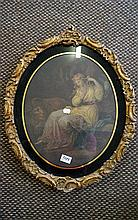 Early 19th Century print of maiden with lion