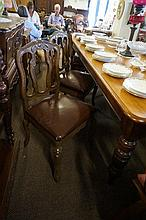 Set of 6 French chairs with leather upholstery