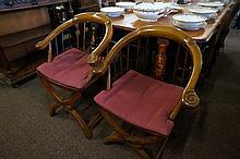 Pr chinese inlaid arm chairs
