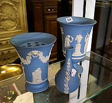 3 Wedgwood blue jasperware vases