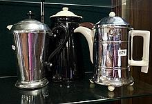 2 retro chrome & ceramic coffee & water pots & enamle coffee pot