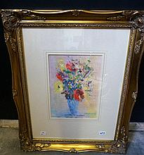 Oil painting on paper, still life vase of flowers by S. Tandori