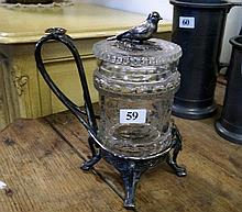 Victorian EP etched glass lidded pot with bird finial