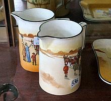 2 Royal Doulton jugs, yellow door coach & farewell the carriage