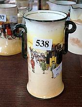 Royal Doulton vase, yellow coach