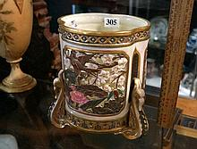 Unusual R/Worcester pierced jardiniere decorated with birds & butterflies,