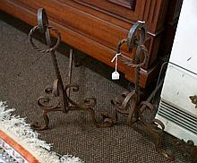Pr wrought iron fire dogs