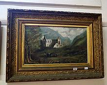 19th Century gilt framed oil painting of landscape with riuns