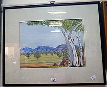 Aboriginal watercolour of gums & landscape by Basel Rangi