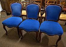 3 Victorian mahogany cabriole leg chairs, 1 a/f
