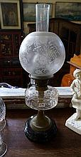 Victorian cut glass & brass based double burner kero lamp with original etc